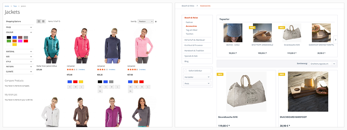 shopware vs magento category pages